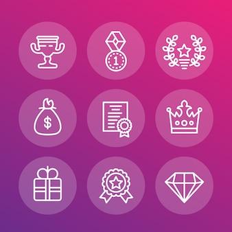 Conjunto de ícones de linha de recompensas e prêmios