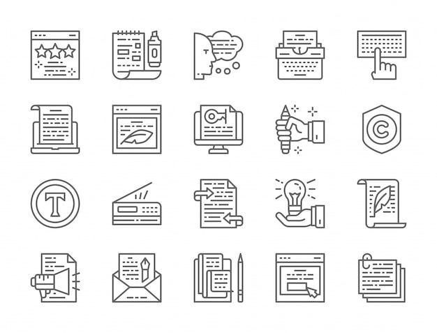 Conjunto de ícones de linha de redação