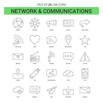 Conjunto de ícones de linha de rede e comunicação - 25 estilo de estrutura de tópicos