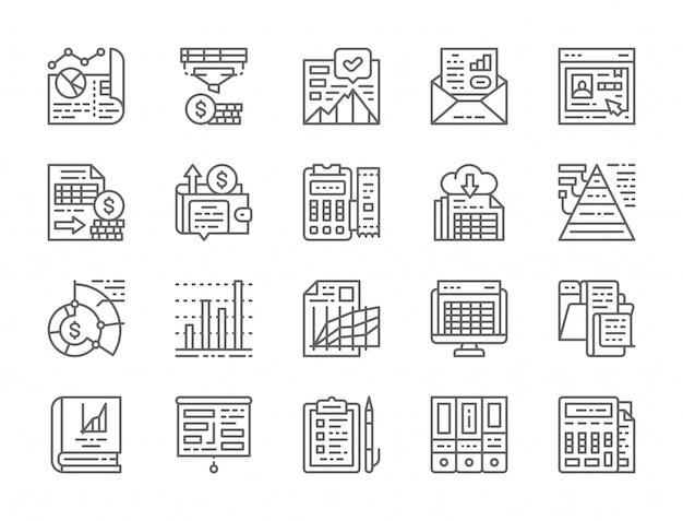 Conjunto de ícones de linha de relatório de contabilidade