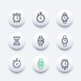 Conjunto de ícones de linha de relógios