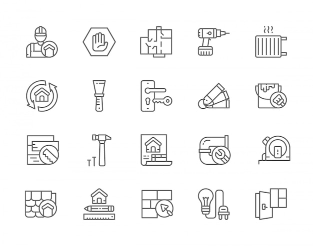 Conjunto de ícones de linha de renovação em casa. reparador, projeto arquitetônico, máquina de perfuração, radiador, faca de vidraceiro, balde de tinta, planta da casa, encanamento e muito mais.