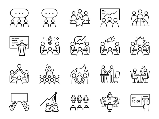 Conjunto de ícones de linha de reunião.