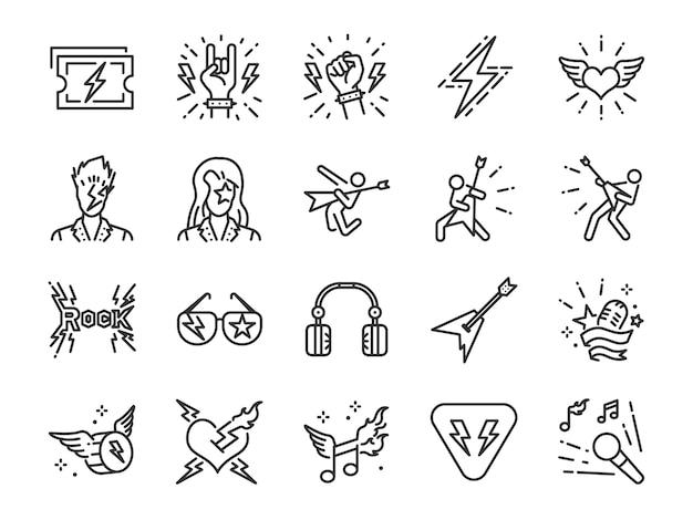 Conjunto de ícones de linha de rock and roll.