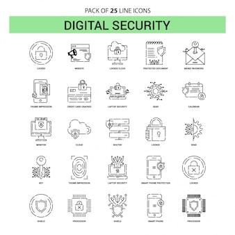Conjunto de ícones de linha de segurança digital - 25 estilo de contorno esboçado