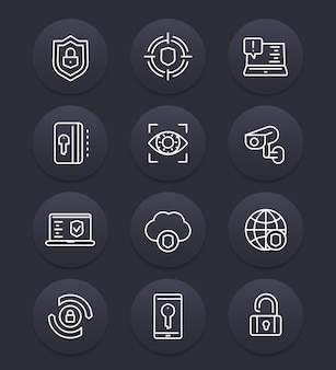 Conjunto de ícones de linha de segurança e proteção, cibersegurança, navegação segura, firewall