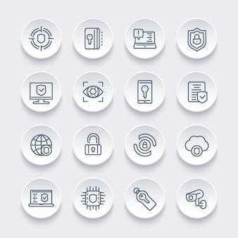 Conjunto de ícones de linha de segurança e proteção, navegação segura, cibersegurança, privacidade