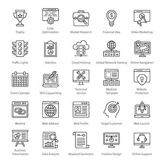 Conjunto de ícones de linha de seo