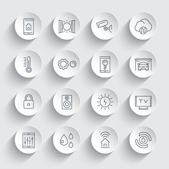 Conjunto de ícones de linha de sistema de casa inteligente