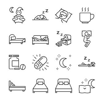 Conjunto de ícones de linha de sono.