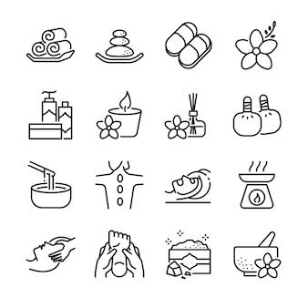 Conjunto de ícones de linha de spa.