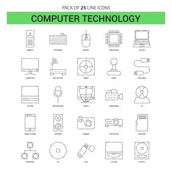 Conjunto de ícones de linha de tecnologia de computador - 25 estilo de contorno traçado