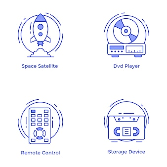 Conjunto de ícones de linha de tecnologia e hardware