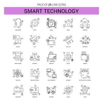 Conjunto de ícones de linha de tecnologia inteligente - 25 estilo de contorno traçado
