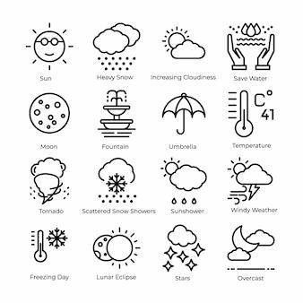 Conjunto de ícones de linha de tempo