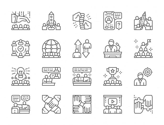 Conjunto de ícones de linha de trabalho em equipe