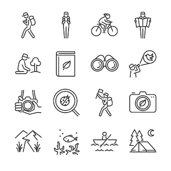 Conjunto de ícones de linha de turismo ecológico.