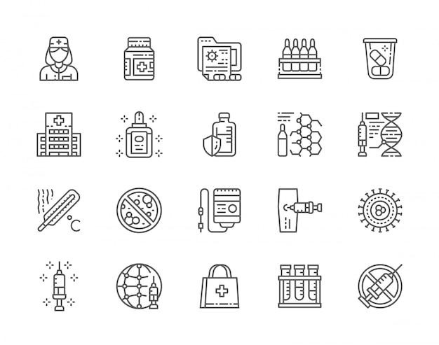 Conjunto de ícones de linha de vacinação.