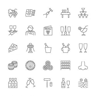 Conjunto de ícones de linha de vinho