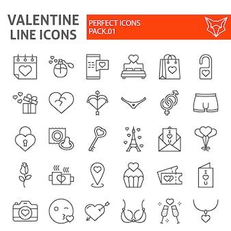 Conjunto de ícones de linha dia dos namorados, coleção de símbolos românticos