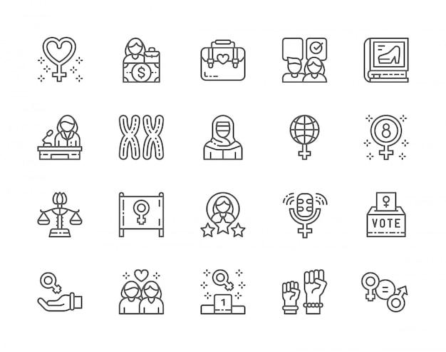 Conjunto de ícones de linha do feminismo. protesto feminino, salário, disparidade de gênero, cromossomos, poder feminino, casal de lésbicas e muito mais.