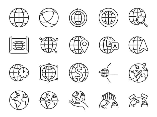 Conjunto de ícones de linha do mundo.