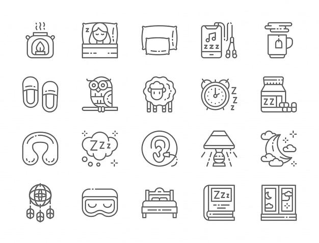 Conjunto de ícones de linha do sono