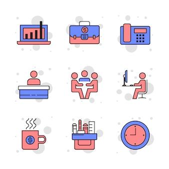 Conjunto de ícones de linha do vetor relacionados de escritório