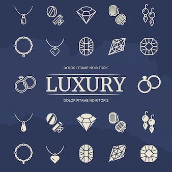 Conjunto de ícones de linha e silhueta de jóias e diamantes