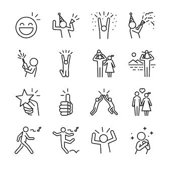 Conjunto de ícones de linha feliz.