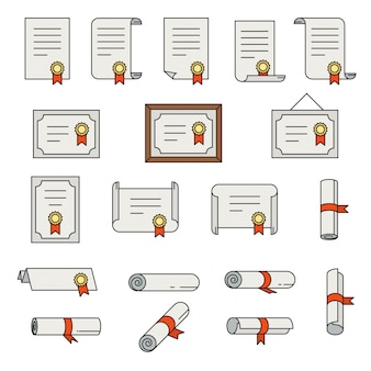 Conjunto de ícones de linha fina de certificado