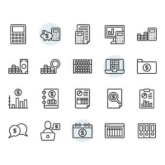 Conjunto de ícones de linha fina de contabilidade