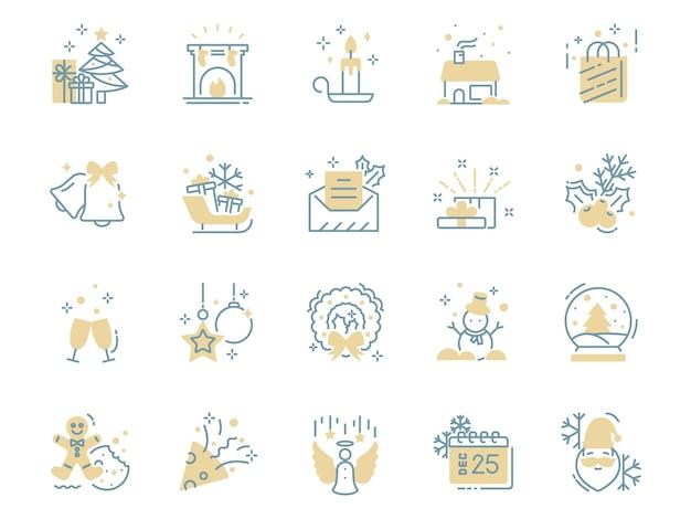 Conjunto de ícones de linha fina de natal, inverno, feriado, ano novo