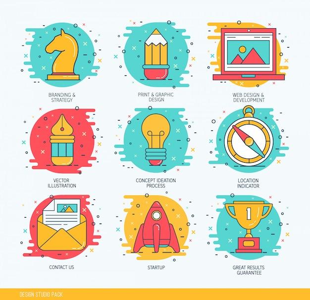 Conjunto de ícones de linha fina de negócios