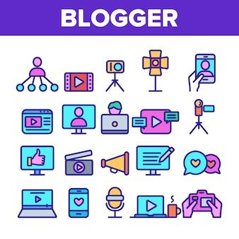 Conjunto de ícones de linha fina do blogger