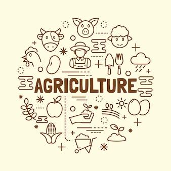 Conjunto de ícones de linha fina mínima de agricultura