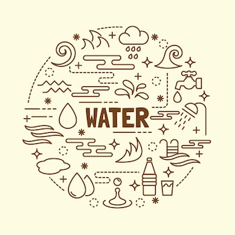 Conjunto de ícones de linha fina mínima de água