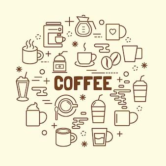 Conjunto de ícones de linha fina mínima de café