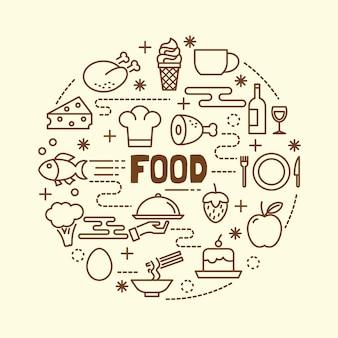 Conjunto de ícones de linha fina mínima de comida