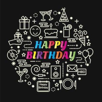 Conjunto de ícones de linha fina mínima de feliz aniversário