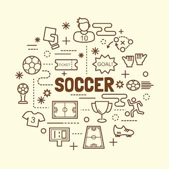 Conjunto de ícones de linha fina mínima de futebol