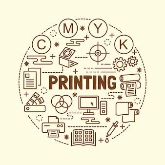 Conjunto de ícones de linha fina mínima de impressão
