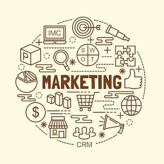 Conjunto de ícones de linha fina mínima de marketing