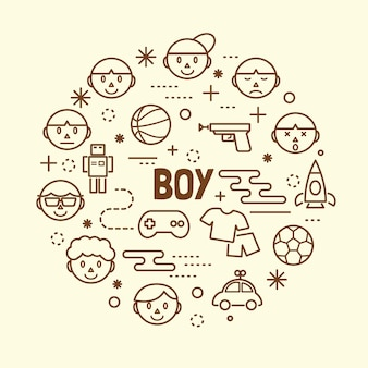 Conjunto de ícones de linha fina mínima de menino