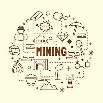 Conjunto de ícones de linha fina mínima de mineração
