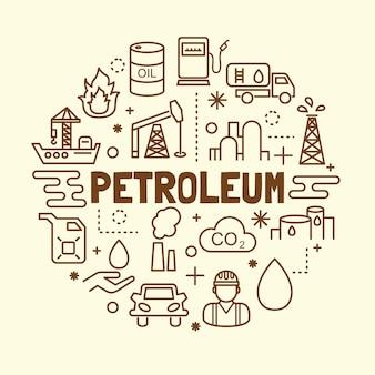 Conjunto de ícones de linha fina mínima de petróleo