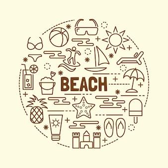 Conjunto de ícones de linha fina mínima de praia