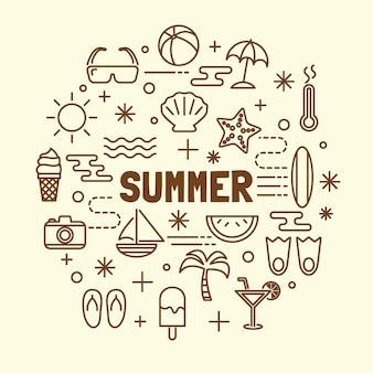 Conjunto de ícones de linha fina mínima de verão