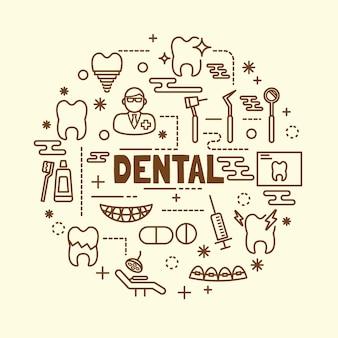 Conjunto de ícones de linha fina mínima dental