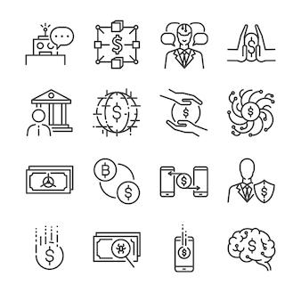 Conjunto de ícones de linha fintech.